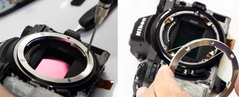 Desmontaje de la montura de la Nikon Z7.